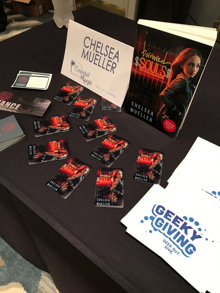 Chelsea Mueller's swag table at Coastal Magic Convention 2017