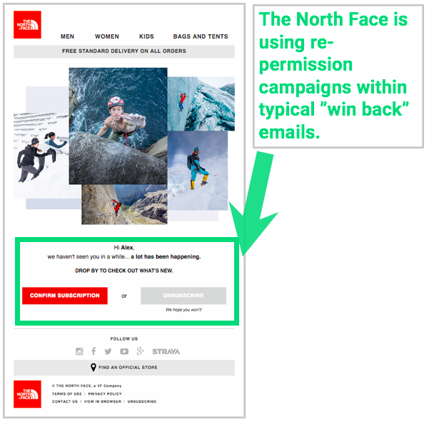 The North Face Repermissioning Email (Photo: Emarsys, click for their great supplemental guide on GDPR)